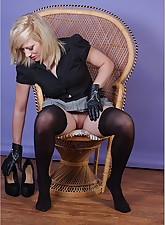 Horny blonde leather