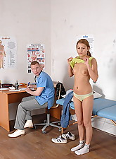 Male doctor examines